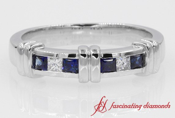 Channel Bar Set Diamond With Sapphire Band