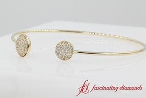 Open Round Diamond Bangle Bracelet In 14K Yellow Gold