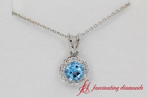 Single Halo Pendant Blue Topaz In White Gold