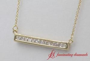 Princess Cut Diamond Bar Necklace Pendant In Yellow Gold