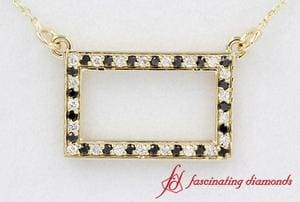 Diamond Open Rectangle Pendant