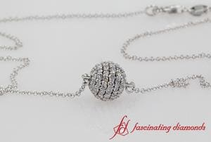 Pave Diamond Sphere Pendant In 18K White Gold