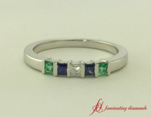 Diamond And Gemstone Wedding Band