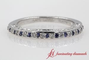Filigree Diamond Wedding Band With Sapphire In White Gold