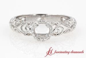 Filigree Halo Bezel Round Diamond Ring Settings