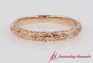 Filigree Intricate Wedding Band In Rose Gold