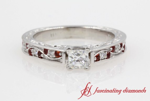 Filigree Princess Cut Diamond Vintage Ring With Ruby