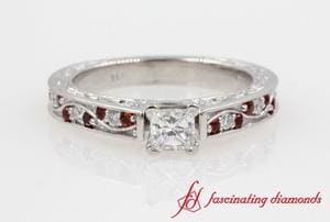 Filigree Princess Cut Diamond Vintage Ring