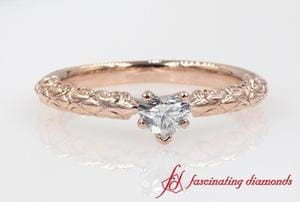 Filigree Solitaire Heart Diamond Engagement Ring In Rose Gold