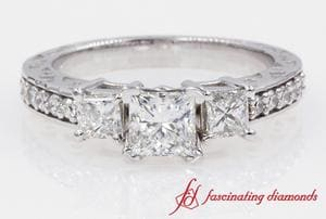 Filigree Three Stone Princess Cut Diamond Ring In White Gold