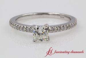 Floating Delicate Cushion Diamond Engagement Ring In White Gold