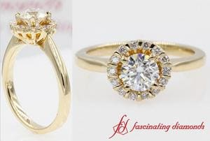 Floating Floral Halo Diamond Engagement Ring In Gold