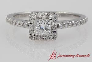 Floating Halo Princess Cut Engagement Ring In White Gold