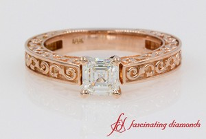 Floral Asscher Diamond Solitaire Ring In 18k Rose Gold