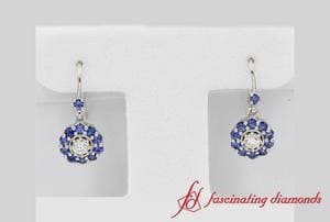 Floral Diamond Dangle Earring With Sapphire In White Gold