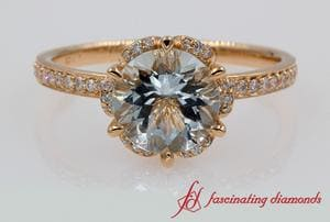 Floral Halo Aquamarine Engagement Ring In 18k Rose Gold