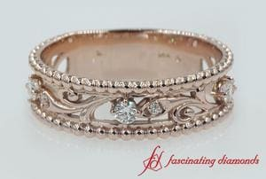 Floral Milgrain Diamond Wedding Band In Rose Gold