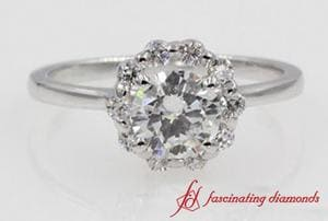 Floral Round Diamond Halo Engagement Ring In White Gold