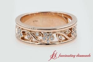 Flower Diamond Wide Band For Women In Rose Gold