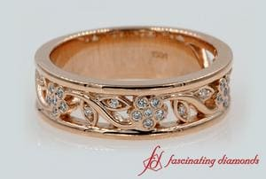 Flower Diamond Wide Wedding Band For Women In Rose Gold