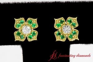 Flower Diamond With Emerald Stud Earring In Yellow Gold