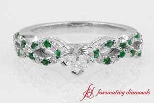 Emerald Braided Engagement Ring