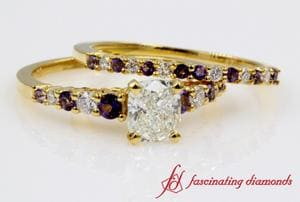 Graduated Accents Cushion Diamond Bridal Sets With Topaz In Yellow Gold