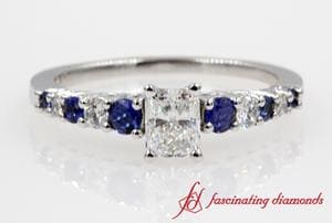 Graduated Radiant Diamond With Sapphire Ring