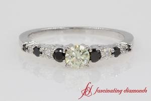 Customized Graduated Side Stone Diamond Ring In White Gold