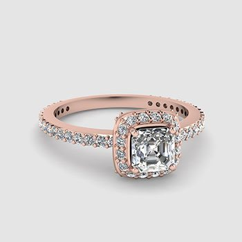 Asscher Shaped Halo Engagement Rings