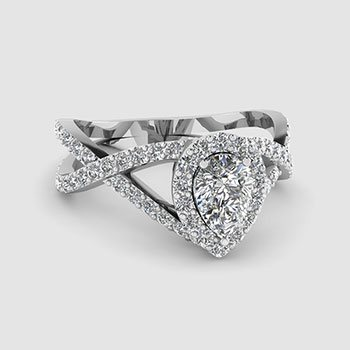 Pear Shaped Halo Engagement Rings