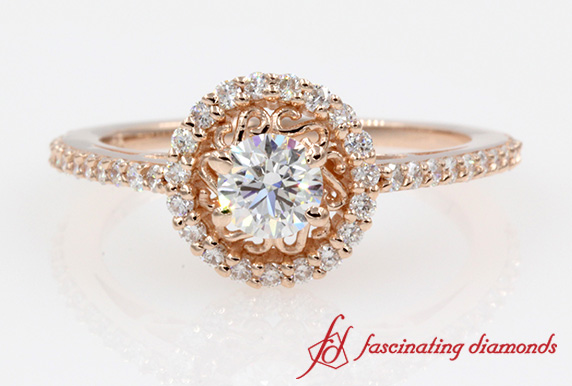 Halo Filigree Diamond Delicate Engagement Ring