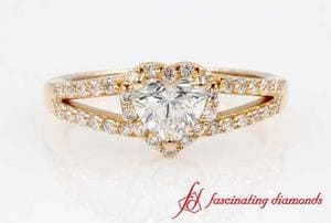 Halo Heart Diamond Split Shank Ring