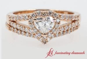 Halo Heart Diamond Wedding Ring Set In Rose Gold