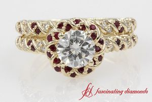 Halo Twisted Rope Round Diamond With Ruby Wedding Ring Set In Yellow Gold