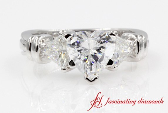 Customized Heart 3 Stone Ring With Trillion Diamond