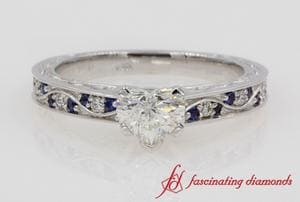 Heart Diamond Antique Filigree Ring