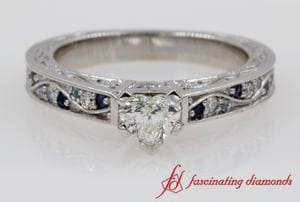 Heart Cut Engagement Ring With Sapphire In White Gold
