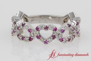 Heart Design Diamond Anniversary Band In Platinum
