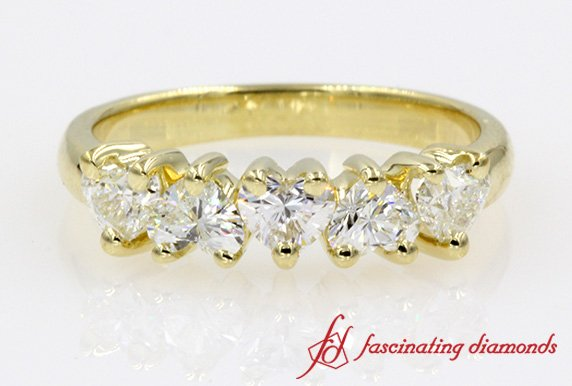 Heart Diamond Anniversary Band One Carat In Yellow Gold