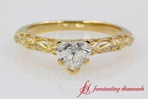Heart Diamond Milgrain Filigree Engagement Ring In Gold