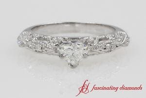 Heart Diamond Milgrain Filigree Ring In White Gold