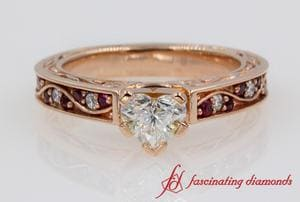 Heart Diamond Vintage Engagement Ring