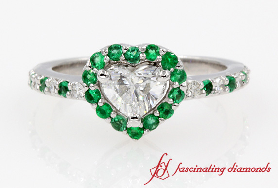 Heart Diamond With Emerald Halo Ring