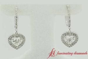 Heart Halo Drop Dangle Earring In White Gold