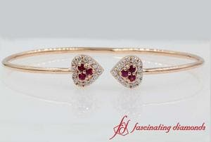 Heart Halo Pink Sapphire Open Cuff Bracelet In Rose Gold