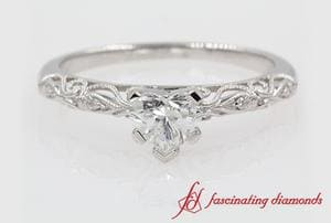 Heart Shaped Paisely Milgrain Diamond Ring In White Gold