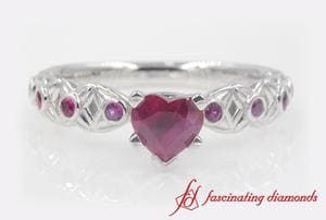 Heart Shaped Ruby Engagement Ring In Platinum