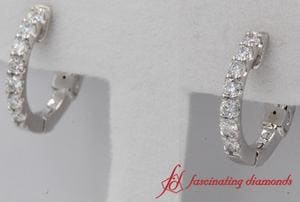 Huggie Hoop Diamond Earring In White Gold