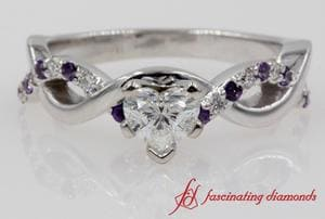 Infinity Diamond & Purple Topaz Engagement Ring In White Gold